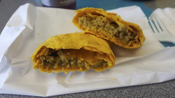 Jamaican patties from Pepper & Spice Jamaican Restaurant on Lower Huntington Road.