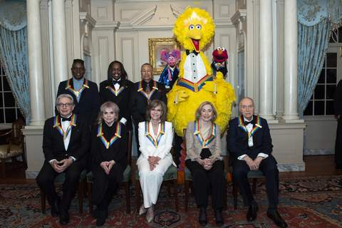 """APTOPIX 2019 Kennedy Center Honors Associated Press Kennedy Center honorees pictured Saturday include: Front row from left, Michael Tilson Thomas, Linda Ronstadt, Sally Field, Joan Ganz Cooney and Lloyd Morrisett; back row from left, Philip Bailey, Verdine White, Ralph Johnson, and characters from """"Sesame Street"""" Abby Cadabby, Big Bird, and Elmo. (Kevin WolfFRE)"""