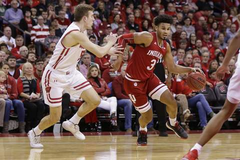 Indiana Wisconsin Basketball Associated Press  Indiana's Justin Smith and the Hoosiers travel to Madison Square Garden to take on Connecticut in the Jimmy V Classic tonight. Indiana is trying to bounce back from its first loss Sunday. (AP Photo/Andy Manis) (Andy ManisFRE)