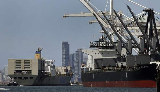 Homeless-Cruise Ship FILE - In this May 17, 2019, file photo, a tugboat assists as a container ship is prepared for docking at the Port of Oakland in Oakland, Calif. (AP Photo/Ben Margot,File) (Ben Margot STF)