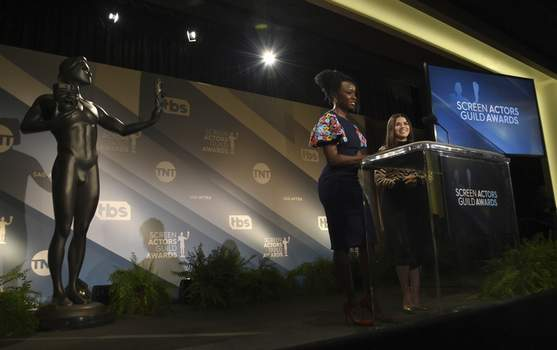 26th Annual SAG Awards - Nominations Danai Gurira, left, and America Ferrera announce nominations for the 26th annual Screen Actors Guild Awards at the Pacific Design Center on Wednesday, Dec. 11, 2019, in West Hollywood, Calif. The show will be held on Sunday, Jan. 19, 2020, in Los Angeles. (AP Photo/Chris Pizzello) (Chris Pizzello