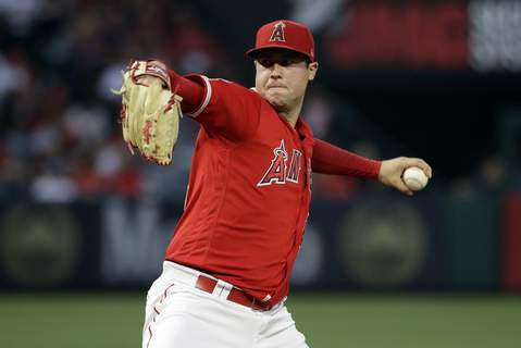 MLB Opiods Baseball FILE - In this June 29, 2019, file photo, Los Angeles Angels starting pitcher Tyler Skaggs throws to the Oakland Athletics during a baseball game in Anaheim, Calif. (AP Photo/Marcio Jose Sanchez, File) (Marcio Jose Sanchez STF)