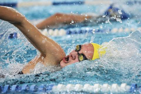 Mike Moore | The Journal Gazette Maggie Stock won the 100-yard freestyle at last season's  sectional meet. She is one of three Homestead sophomore girls swimmers who won a sectional event in each of their first two seasons. (The_Journal_Gazette)