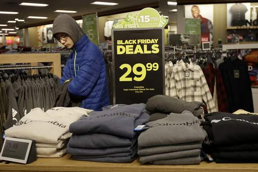 Retail Sales FILE- In this Nov. 29, 2019, file photo customers shop at a Kohl's store in Colma, Calif. On Friday, Dec. 13, the Commerce Department releases U.S. retail sales data for November. (AP Photo/Jeff Chiu, File) (Jeff Chiu STF)