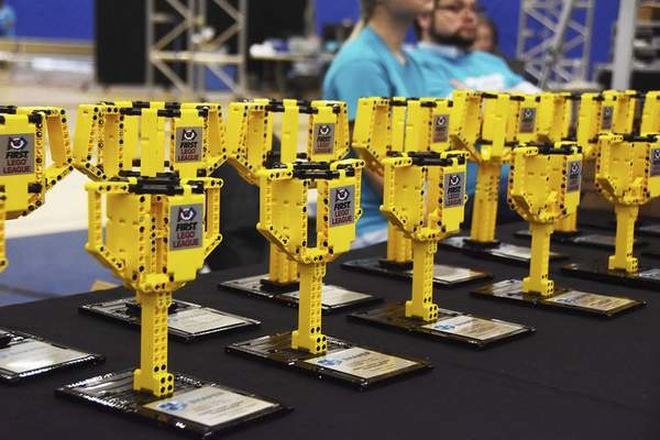 Katie Fyfe | The Journal Gazette  Lego trophies are on display at the20th edition of the FIRST LegoLeague's Northern Indiana ChampionshipatPurdue University Fort Wayne.
