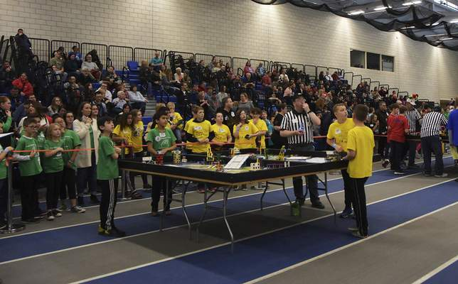 Katie Fyfe | The Journal Gazette  Crowds gather to watch the20th edition of the FIRST LegoLeague's Northern Indiana ChampionshipatPurdue University Fort Wayne on Saturday.