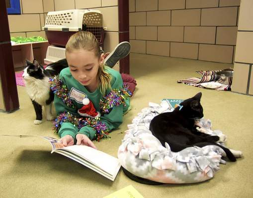 Katie Fyfe | The Journal Gazette  Gabriella Stroh, 10, reads to cats at Fort Wayne Animal Care & Control during their Deck the Howls event Saturday.
