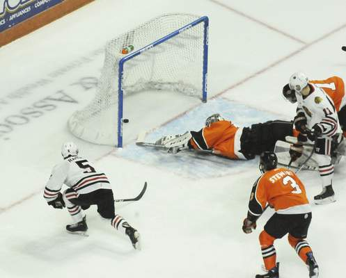 Justin A. Cohn | The Journal Gazette  Indy Fuel defenseman Jack Ramsey scores and Komets goaltender Cole Kehler is powerless to stop it at Memorial Coliseum on Friday night.