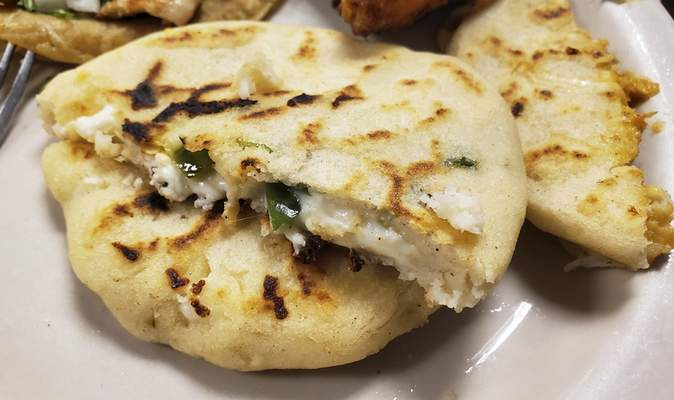 Jalapeno pupusas from Cheros y Chapines Salvadoran restaurant on East Jefferson Boulevard.