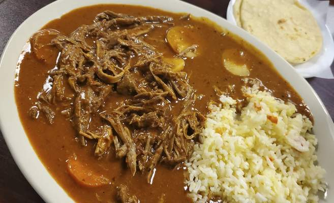 Shredded beef from Cheros y Chapines Salvadoran restaurant on East Jefferson Boulevard.