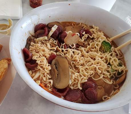 """Ryan DuVall's last bowl of """"Newspaper Noodles"""" from Taiwan Express."""
