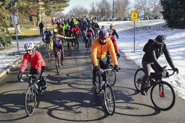 Photos by Mike Moore | The Journal Gazette Riders depart from Bob Arnold Northside Park on Wednesday for the annual Chilly Challenge, co-sponsored by Three Rivers Velo Sport bicycling club and the Fort Wayne Parks and Recreation Department.