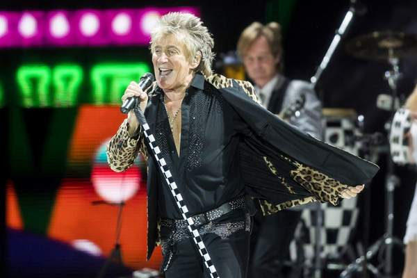 In this Jan. 29, 2018, file photo, British rock singer Rod Stewart performs during his concert in Papp Laszlo Sports Arena in Budapest, Hungary. (Balazs Mohai/MTI via AP, File)