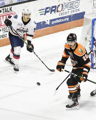 Rachel Von Stroup | The Journal Gazette  The Komets' Stephen Baylis watches the puck during the first period against the Kalamazoo Wings at Memorial Coliseum on Saturday night.