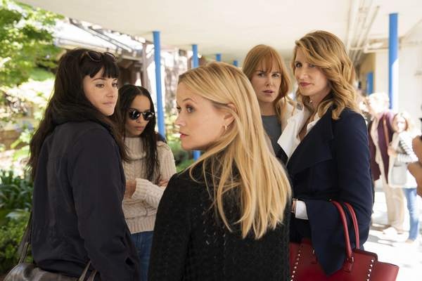 This image released by HBO shows, from left, Shailene Woodley,ZoëKravitz, Reese Witherspoon, Nicole Kidman and Laura Dern in a scene from