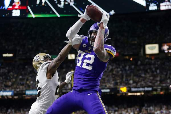 Associated Press Minnesota Vikings tight end Kyle Rudolphcatches the game-winning touchdown  over New Orleans Saints cornerback P.J. Williams on Sunday afternoon in New Orleans. The Vikings face the 49ers Saturday in San Francisco.
