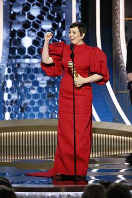 This image released by NBC shows Olivia Colman accepting the award for best actress in a drama series for