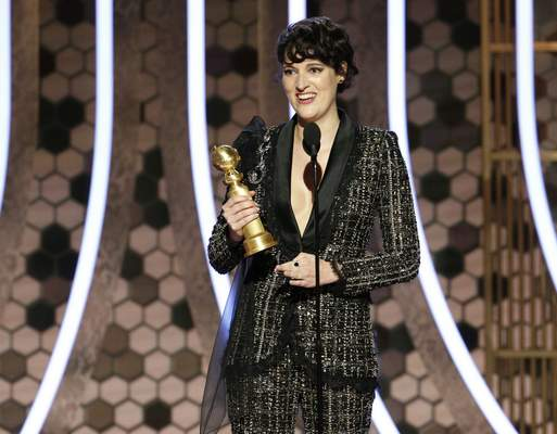 This image released by NBC shows Phoebe Waller-Bridge accepting the award for best actress in a comedy series for
