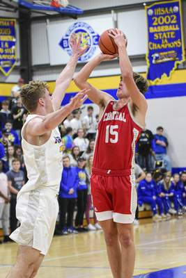 Adams Central forward Ben Voirol takes a shot at the net in the first quarter against the Braves on Tuesday at Blackhawk Christian.