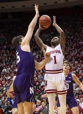 Indiana guard Al Durham scored 16 points in the Hoosiers' 66-62 win over Northwestern tonight. Coach Archie Miller said he was impressed with Durham's leadership. (AP Photo/Doug McSchooler)