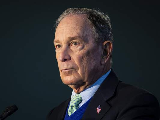 Democratic presidential candidate Mike Bloomberg, former mayor of New York City, during a rally at Olive-Harvey College on the Far South Side of Chicago, Wednesday morning, Jan. 8, 2020. (Ashlee Rezin Garcia/Chicago Sun-Times via AP)