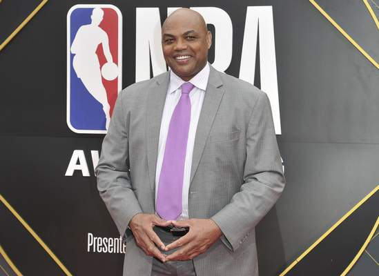 FILE - In this June 24, 2019, file photo, Charles Barkley arrives at the NBA Awards o at the Barker Hangar in Santa Monica, Calif. (Photo by Richard Shotwell/Invision/AP, File)