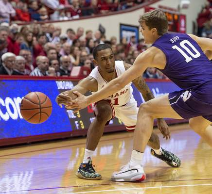 Doug McSchooler | Associated Press Indiana guard Devonte Green and the rest of the Hoosiers' upperclassmen have worked hard to get the team playing together as it welcomes No. 11 Ohio State to Assembly Hall today.