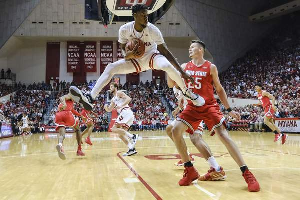 Indiana guard Al Durham (1) pulls down a rebound during Indiana's 66-54 win over Ohio State today. (AP Photo/AJ Mast)