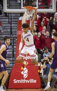 Northwestern Indiana Basketball Indiana forward Trayce Jackson-Davis will need to play a good defensive game to help the Hoosiers contain Ohio State's Kaleb Wesson this afternoon. (AP Photo/Doug McSchooler) (Doug McSchooler