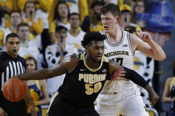 Purdue forward Trevion Williams will have to be at his best today against one of the best rebounding teams in the country in No. 8 Michigan State. (AP Photo/Paul Sancya)