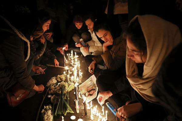 Associated Press A candlelight vigil Saturday in Tehran  remembers the victims of the Ukrainian plane that was shot down by Iran on Wednesday.