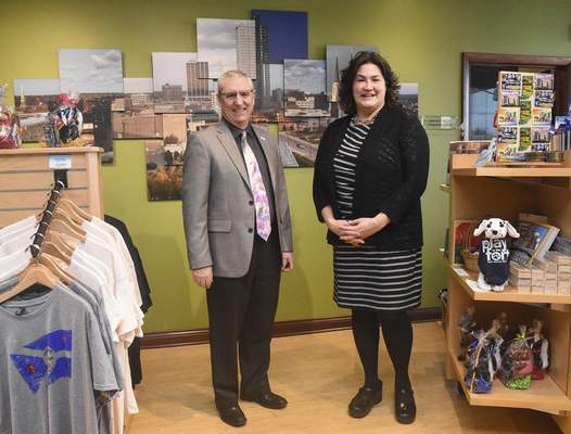 Michelle Davies | The Journal Gazette Dan O'Connell,  president and CEO of Visit Fort Wayne, and Kristen Guthrie, vice president of marketing and communications, work to attract visitors to the city.