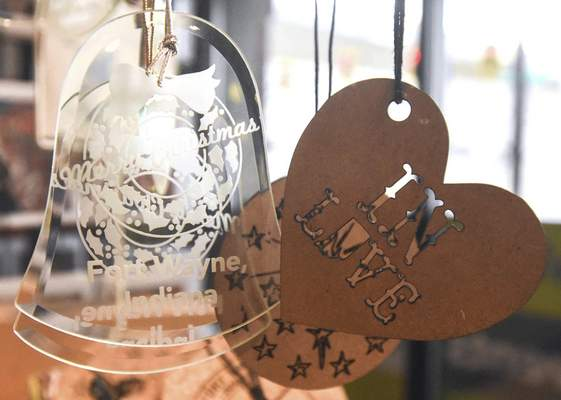 Michelle Davies | The Journal Gazette Ornaments on display at Visit Fort Wayne.
