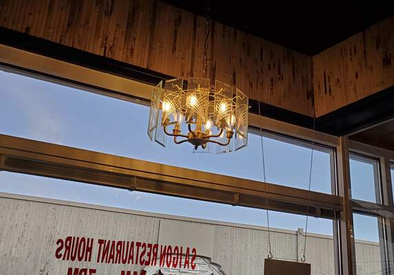 The old chandeliers remain among the spiffy new furnishings at Saigon Vietnamese restaurant on South Calhoun Street.