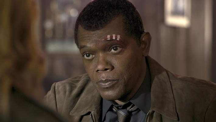 This image released by Disney-Marvel shows Samuel L. Jackson as a younger Nick Fury in a scene from Captain Marvel. (Disney/Marvel Studios via AP)