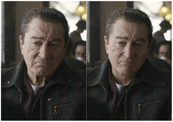 This combination of photos shows actor Robert De Niro, left, during the filming of The Irishman and the younger version of De Niro created by Pablo Helman, visual effects supervisor at Industrial Light and Magic. Helman and his team spent two years looking through old movies and cataloging the targeted ages that De Niro would appear in the film. (Netflix via AP)