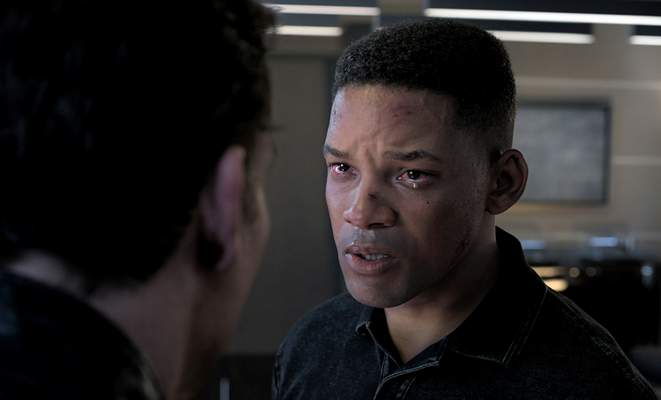 This image released by Paramount Pictures shows Will Smith as Junior in a scene from Gemini Man. To create the character of Junior  a younger clone of Will Smith's assassin Henry Brogan Smith wore the traditional grey tracksuit, complimented by a head rig with two cameras capturing his facial expressions via tracking markers. (Paramount Pictures via AP)