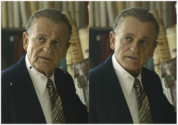 This combination of photos shows actor Joe Pesci, left, during the filming of The Irishman and the younger version of Pesci created by Pablo Helman, visual effects supervisor at Industrial Light and Magic. Helman and his team spent two years looking through old movies and cataloging the targeted ages that Pesci would appear in the film. (Netflix via AP)