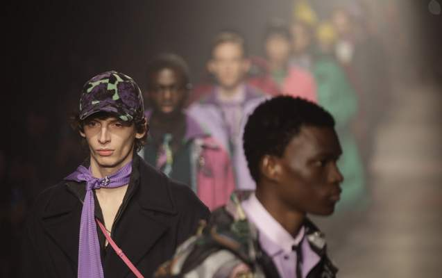 Models wear creations part of the MSGM men's Fall-Winter 2020/21 collection, that was presented during the fashion week, in Milan, Italy, Sunday, Jan. 12, 2020. (AP Photo/Luca Bruno)