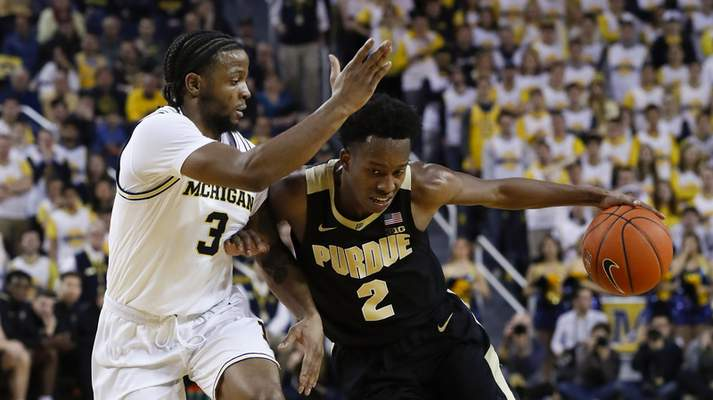 Purdue guard Eric Hunter Jr.and the Boilermakers will try to snap No. 8 Michigan State's eight-game winning streak today at Mackey Arena.(AP Photo/Paul Sancya)