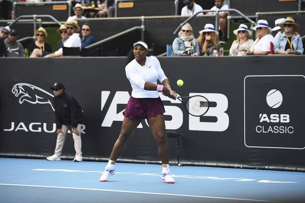 United States' Serena Williams makes a backhand return during her match against Italy's Camila Giorgi at the ASB Classic in Auckland, New Zealand, Tuesday, Jan. 7, 2020. (Chris Symes/Photosport via AP)