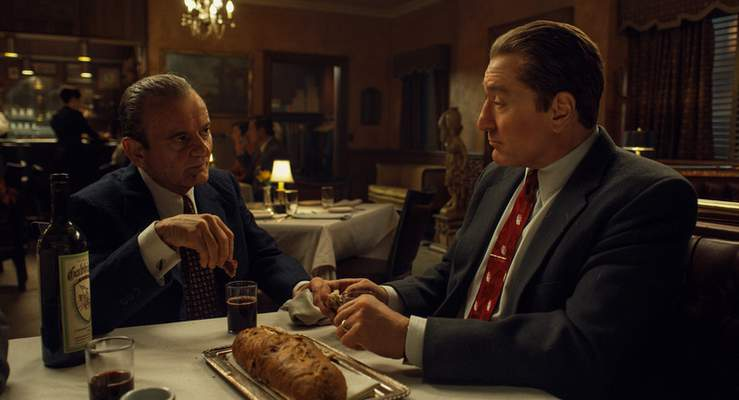 This image released by Netflix shows Joe Pesci, left, and Robert De Niro in a scene from The Irishman, directed by Martin Scorsese. (Netflix via AP)