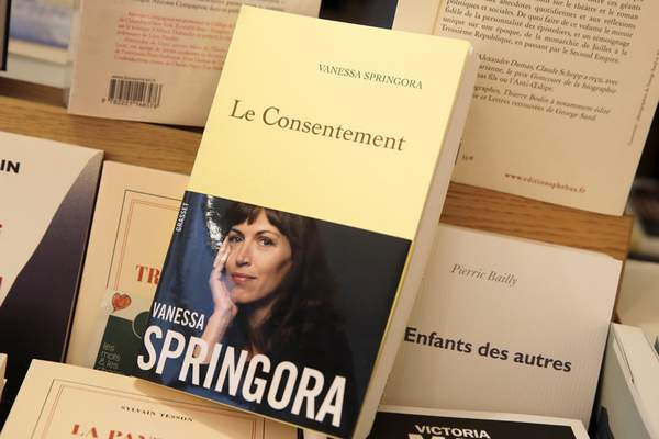 This photo taken Thursday, Jan. 2, 2020 shows the book Le Consentement (Consent) by Vanessa Springora and displayed in a Boulogne Billancourt bookstore, outside Paris. (AP Photo/Christophe Ena)