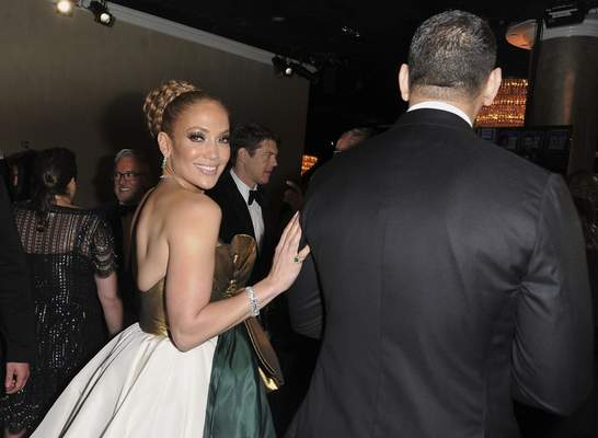 Jennifer Lopez, left, and Alex Rodriguez attend the 77th annual Golden Globe Awards at the Beverly Hilton Hotel on Sunday, Jan. 5, 2020, in Beverly Hills, Calif. (Richard Shotwell/Invision/AP)