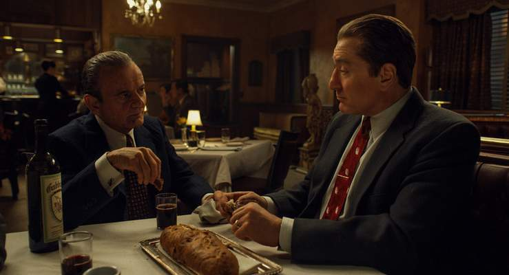 This image released by Netflix shows Joe Pesci, left, and Robert De Niro in a scene from The Irishman. (Netflix via AP)