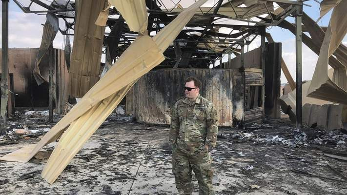 Associated Press A U.S. soldier stands Monday at a site of Iranian bombing last week at Ain al-Asad air basein the Anbarprovince of Iraq.