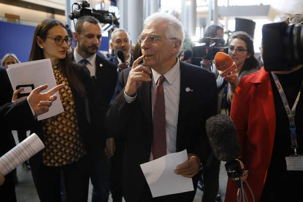 European Union foreign policy chief Josep Borrell is surrounded by reporters at the European parliament Tuesday, Jan.14, 2020 in Strasbourg, eastern France. (AP Photo/Jean-Francois Badias)