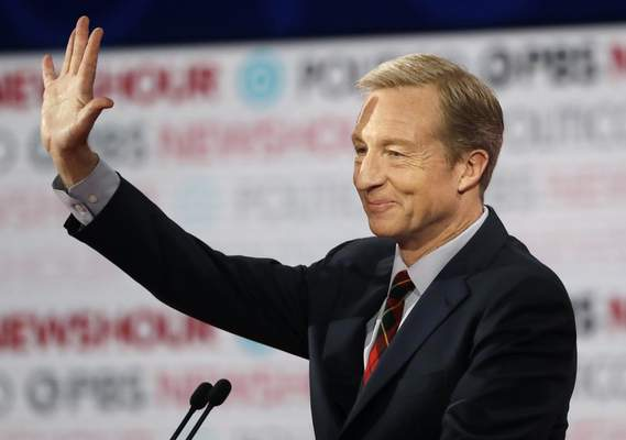 FILE - In this Dec. 19, 2019, file photo, Democratic presidential candidate businessman Tom Steyer waves before a Democratic presidential primary debate in Los Angeles, Calif. (AP Photo/Chris Carlson, File)
