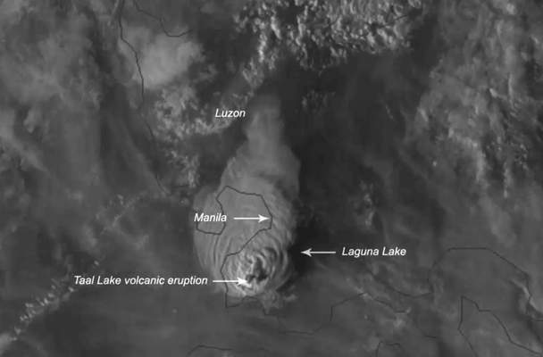 This Jan. 12, 2020, image made available by Himawari-8 satellite via the National Oceanic and Atmospheric Administration (NOAA), shows the eruption of Taal volcano, south of Manila, Philippines. (NOAA via AP)