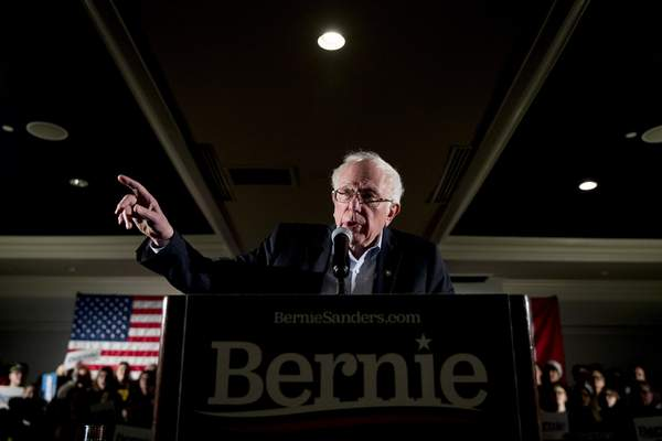 Democratic presidential candidate Sen. Bernie Sanders, I-Vt., speaks at a climate rally with the Sunrise Movement at The Graduate Hotel, Sunday, Jan. 12, 2020, in Iowa City, Iowa. (AP Photo/Andrew Harnik)